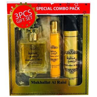 MUKHALLAT AL RAISI  3 Pcs Perfume/Roll-on/Body Spray Gift Set