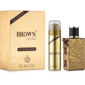 Brown Orchid Gold Edition Unisex Eau de Parfum 80ml with Free Deo
