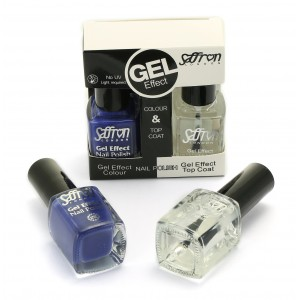 Saffron Gel Effect Nail Polish with Gel Effect Top Coat Set   3 Blue
