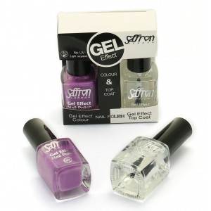 Saffron Gel Effect Nail Polish with Gel Effect Top Coat Set   4 Lilac