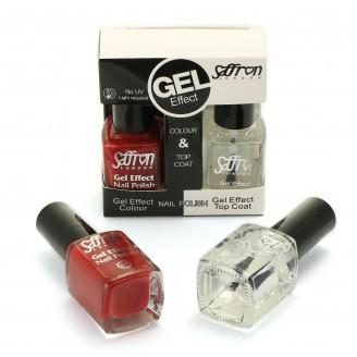 Saffron Gel Effect Nail Polish with Gel Effect Top Coat Set   6 Deep Red