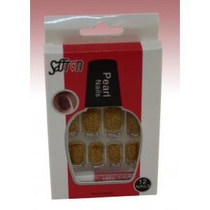 Saffron False Pearls Nails Gold